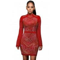 Cheap New Arrivals Red Mini Jeweled Quilted Long Sleeves Dress for sale