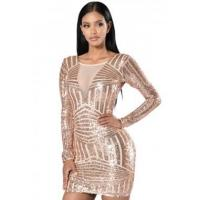 Quality New Arrivals Rose Nude Open Back Long Sleeve Sequin Dress wholesale