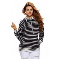 Quality New Arrivals Navy White Stripe Double Hooded Sweatshirt wholesale