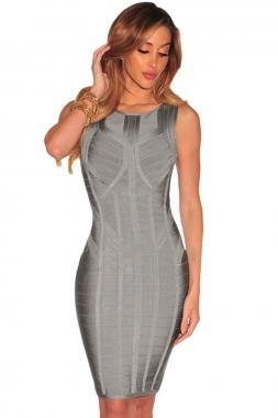 Cheap New Arrivals Gray Sage Sleeveless Bodycon Bandage Dress for sale