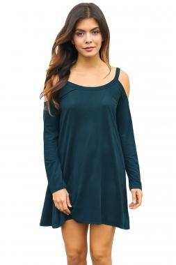 Cheap New Arrivals Blue Sexy Cute Cold Shoulder Flared Cotton Dress for sale