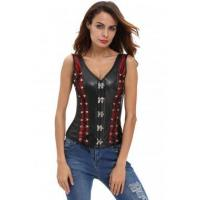 Cheap New Arrivals Contrast Mesh Panel Insert Black Leather Corset with Thong for sale