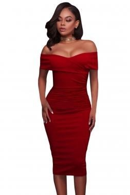 Cheap New Arrivals Red Ruched Off Shoulder Bodycon Midi Dress for sale