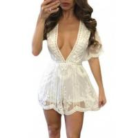 China New Arrivals White Delicate Tulle Embroidered Lace Romper on sale