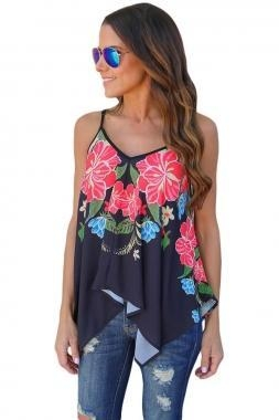 Cheap New Arrivals Navy Floral Print Summer Holiday Tank Top for sale