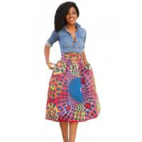 Quality New Arrivals Vintage High Waist Africa Print A-lined Midi Skirt wholesale