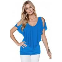 Buy cheap New Arrivals Blue Cold Shoulder Flutter Top from wholesalers