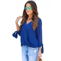 Quality New Arrivals Blue Womens V Neck Ruched Tie Sleeve Top wholesale