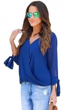 Cheap New Arrivals Blue Womens V Neck Ruched Tie Sleeve Top for sale
