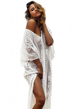 Cheap New Arrivals Boho Lace Hollow-out Maxi Kaftan with Splits for sale