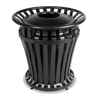 Quality Rubbermaid Commercial WeatherGard Series Container, Round, Steel, 32 gal, Black wholesale