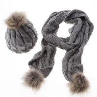 Quality Luxury Winter Warm Women Fashion Cashmere Knitted Scarf and Hat Set British Style Wool Crochet Cap R wholesale