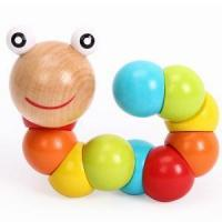 Quality Colorful Insects Twist Caterpillars Wooden Educational Toys for Kids wholesale