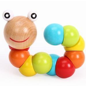 Cheap Colorful Insects Twist Caterpillars Wooden Educational Toys for Kids for sale