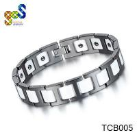China Tungsten carbide bracelet with white ceramic and magnetic polish shiny design on sale