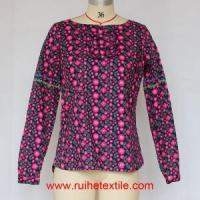 Quality Casual Women Cotton Blouse Long Sleeve Flower Printed Blouse for Ladies wholesale
