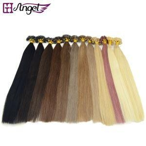 Cheap Pre Bonded U / Nail Tip Capsule Natural Keratin Real Human Hair Extensions for sale