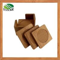 Buy cheap Set of 4 PCS Square Bamboo Slate Cup Coaster with Bamboo Holder from wholesalers