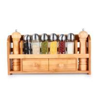 China Bamboo Wooden Hanging Wall Mounted Spice Rack Storage Container Tins Set on sale