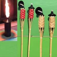 Quality Black Metal Tank Nature Bamboo Torch,Colorful Torch Lights with Weaving, wholesale