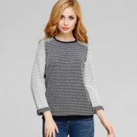 Quality Latest Combed Cotton Jacquard Sweater Computer Knit Pullover for Women wholesale