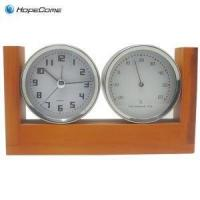 China Wooden Desk Clock With Weather Station on sale