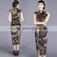 China Copper floral print black silk traditional long Chinese dress on sale