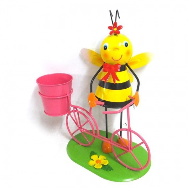 Cheap Metal bee flower planter Bicycle Garden Decor for sale