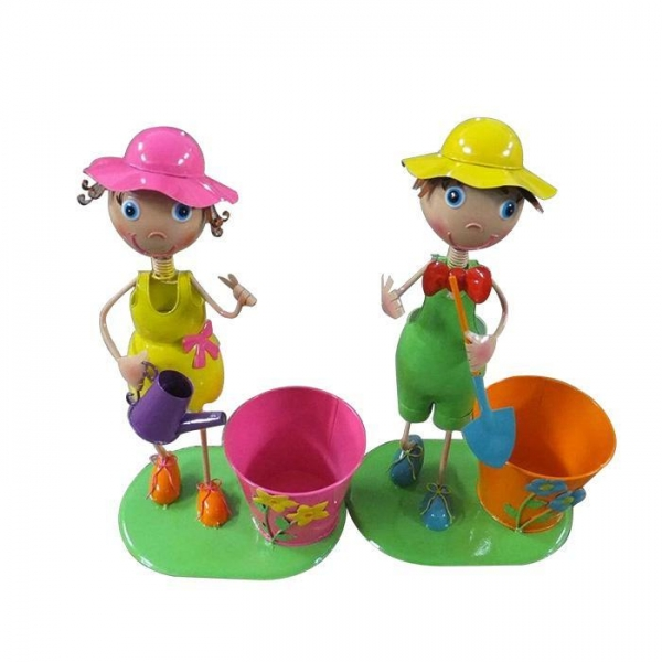 Cheap Metal Girl Flower Planter with boy garden decoration for sale