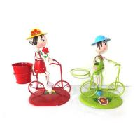 Quality Metal Bicycle Flower planter with Boy/girl Garden Decor wholesale