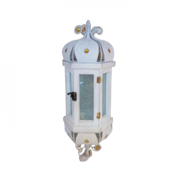 Cheap Metal White Moroccan Glass Candle Lantern for sale
