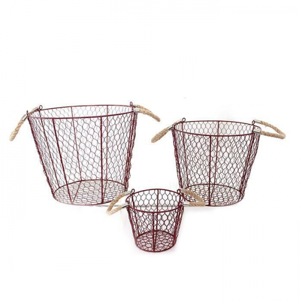 Cheap Metal Wire Storage Basket With Handles for sale