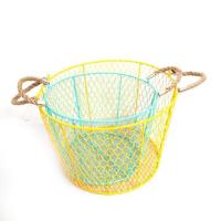 Quality metal wire Storage Basket With Handles Round/square wholesale