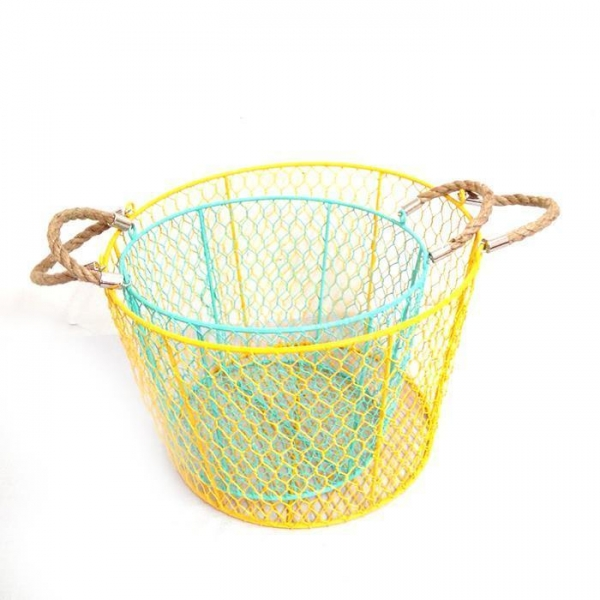 Cheap metal wire Storage Basket With Handles Round/square for sale