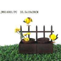 metal flower pot with fence planter holder rusty design