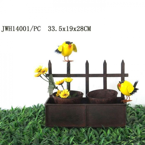 Cheap metal flower pot with fence planter holder rusty design for sale