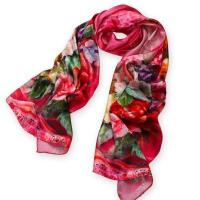 China Pink Printing Long Silk Scarves on sale