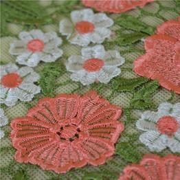 Cheap 2016 Popular Pink Flower Embroidery Lace Trim From China for sale