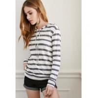 Quality 2015 spring women knit hooded stripe pullover hsd3068 wholesale