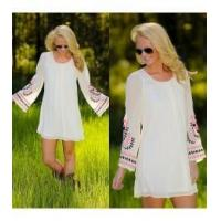 China 2014 Long sleeve embroidered cotton tulle Dress for women HSL203 on sale