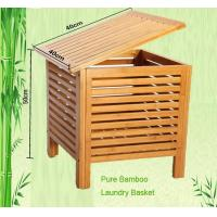 Buy cheap pure bamboo laundry basket with lid from wholesalers