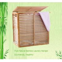 Quality bamboo laundry basket stand with two fabric bag wholesale