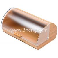 Quality Bread Box made of pure Bamboo with stylish easy glide cover with handle wholesale