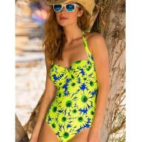 Quality Pour Moi Crazy Daisy Padded Halter Swimsuit Blue/Yellow wholesale