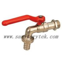 Quality Code: V26-003 Bibcock valve tap with hose nipple - red steel handle wholesale