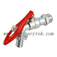 Quality Code: V26-006A Ball hose bibcock with lockpad eye,red steel handle wholesale