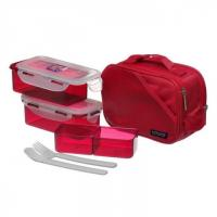 China LOCK & LOCK LUNCH BOX 2P SET W/RED BAG & SPOON, FORK SET HPL762DR on sale
