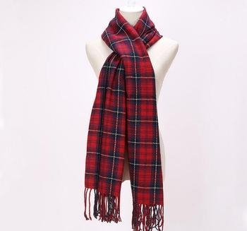 Cheap Brand Scarfs Long Tassels Red Plaid Cashmere Woven Warm Pashmina Winter Fashion Shawls For Women for sale