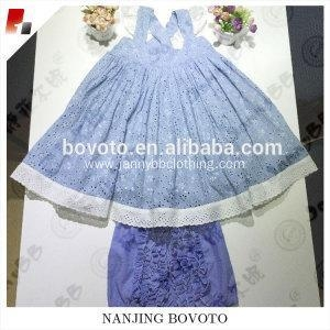 Cheap Designed blue eyelet lace fabric Baby Girl Clothing Sets suit for sale