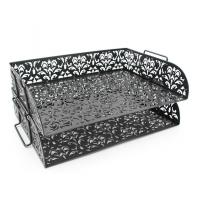Quality EasyPAG Carved Hollow Flower Pattern 2 Tier Desk Letter Tray wholesale